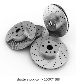 brake discs on white background