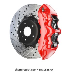 Brake disk and red caliper. Brakes system isolated on white background 3d