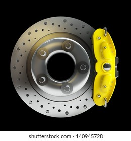 brake disk with a yellow support. isolated on black background High resolution 3d render