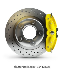 brake disk with a yellow support. isolated on white background High resolution 3d
