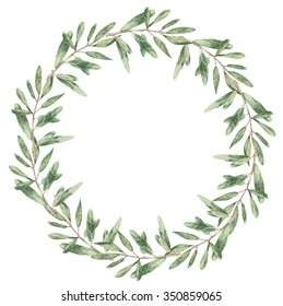 a branch of an olive tree wreath watercolor