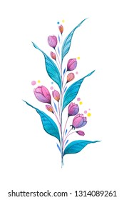 A branch with watercolor leaves and bright pink-violet decorative flovers