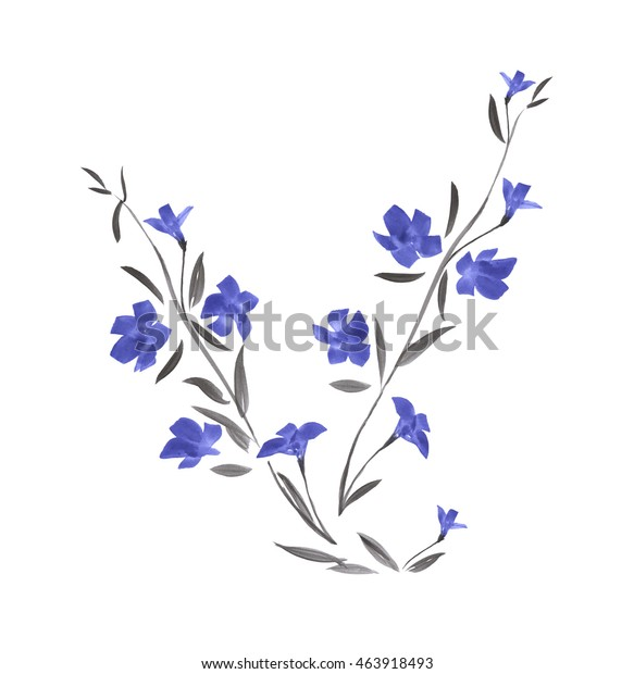 Branch of wild blue flower / Watercolor painting.