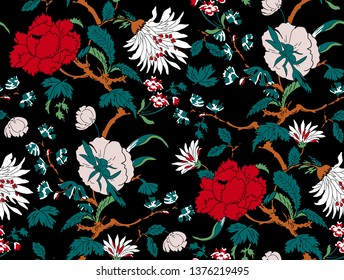 branched, jacquard, looking floral and flowers pattern design. flowers and seamless.Chinese pattern and japanese pattern