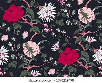 branched, jacquard, looking floral and flowers pattern design. flowers and seamless. Chinese pattern and japanese pattern