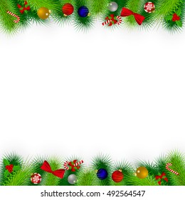 Branches of Christmas tree decorated with balloons, ribbons, candy, toys and holly. Christmas card