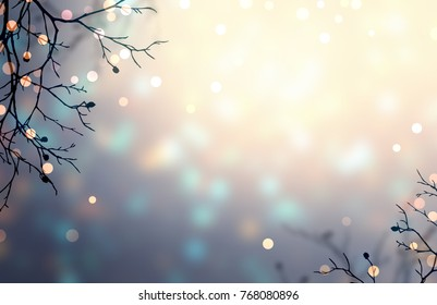 Branches decorated with warm, golden lights. Pearl brilliant blurred background. Golden and blue glare on silver backdrop. New year forest magic vignette. Delicate romantic winter style.