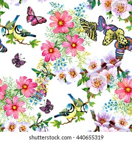 Branches with green leaves and beautiful flowers, cute birds and butterflies watercolor seamless pattern on white background
