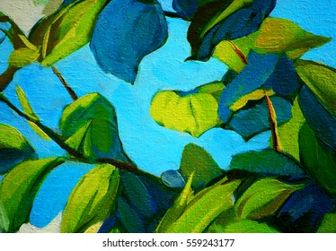 branches and leaves, oil painting on canvas, illustration