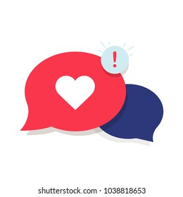 Brand Ambassador Chat Speech Bubble Icon and Influencer Marketing Representative. Love chat or client oriented symbol concept. Cloud with heart and awarness sign. Long Distance relationships