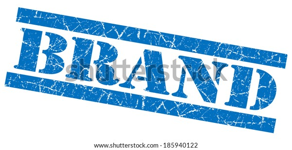 brand blue square grunge textured stamp isolated on white