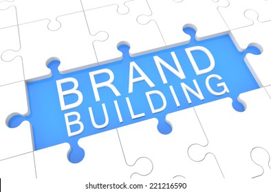 Brand Building - puzzle 3d render illustration with word on blue background