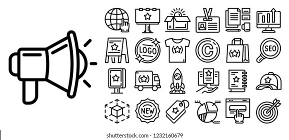 Brand campaign icon set. Outline set of brand campaign icons for web design isolated on white background