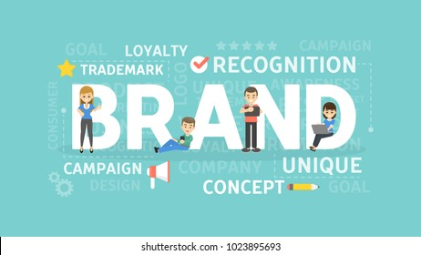 Brand concept illustration. Idea of corporate identity, recognition and creativity.