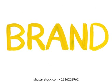 brand concept word gouache paint texture isolated on white background