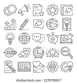 Brand icon set. Outline set of brand icons for web design isolated on white background