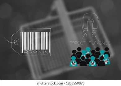 brand image and reputation conceptual illustration: brand label with target audience being attracted by magnet