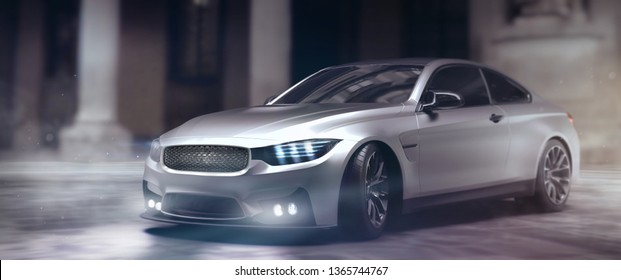 Brand less luxury silver sedan with headlights and fog lights focus - front scene outdoor studio - 3D Illustration