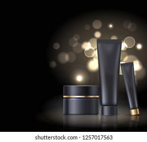 Brand name poster with black night pearl cream, set of cosmetic products for skin, skincare of face and eyes  isolated on black with splashes