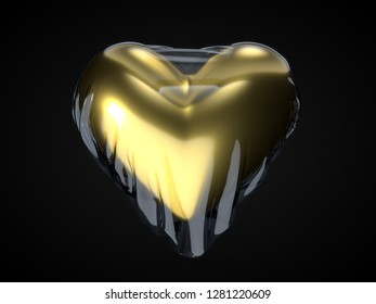 brand new golden heart in package. suitable for love, emotions and valentine's day themes. 3d illustration