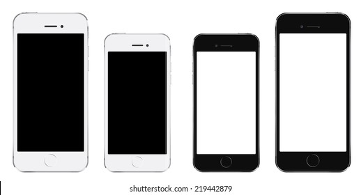 Brand new realistic mobile phone smartphone iphon style in two sizes mockup with blank screen isolated on white background