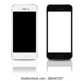 Brand new realistic mobile phone smartphone iphon style collection mockups with blank screen isolated on white background with reflection and shadow. Game and application mockup.