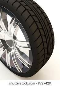 Brand new tire, 3d rendering of car wheel, isolated on white.