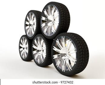 Brand new tires, 3d rendering of car wheel, isolated on white.