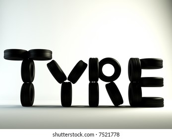 Brand new tyres, writing the  tyre word