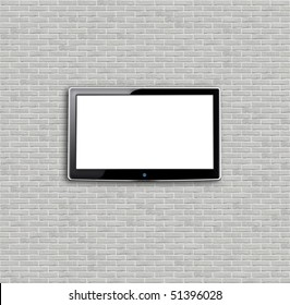 Brand new white apartment building wall and LCD