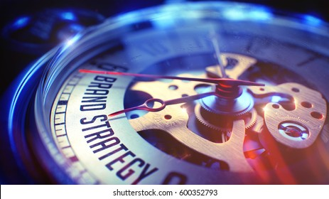 Brand Strategy - Text on Pocket Watch. 3D.