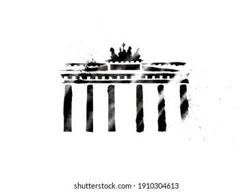 Brandenburg Gate, Berlin, stencil graffiti