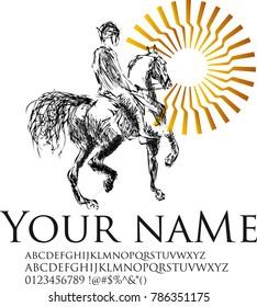 Branding Identity Corporate logo design template, animal sport horse race image silhouette icon logo