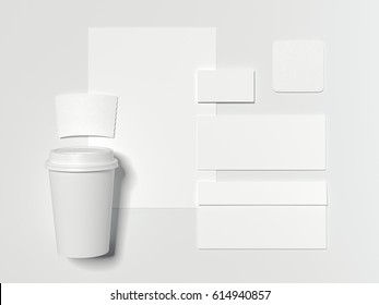 Branding mockup with white cardboard coffee cup isolated on bright background. 3d reendering