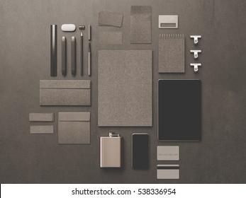 branding mock white stationery office supplies stock illustration