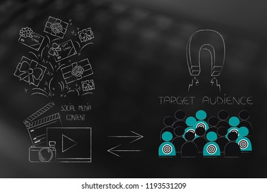 brands working with online marketing conceptual illustration: social media content receiving gifts and target audience attracted with a magnet