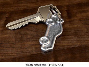A brass key attached to a cast iron keyring in the shape of a car on an isolated wooden surface background - 3D render