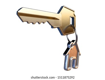 A brass key attached to a cast iron keyring in the shape of a house on an isolated white background - 3D render