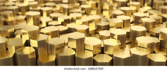 Brass metal, warehouse of brass hexagonal rods. Rolled metal products. 3d illustration.