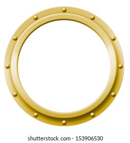 Brass porthole that can be imaged with any photo, illustration or text.
