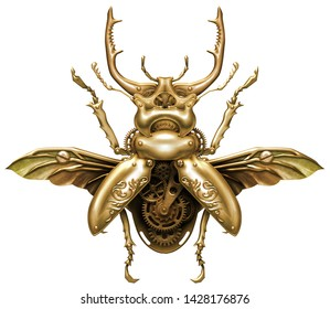 Brass steampunk mechanical ornamental beetle with clockwork gears and wings 3D illustration
