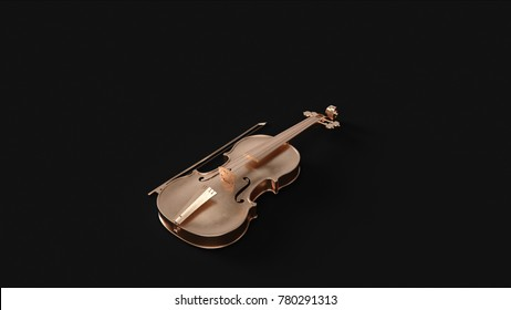 Brass Violin 3d illustration 3d rendering