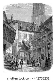 A Brasserie in Dauphine, Southeastern France. From Chemin des Ecoliers, vintage engraving, 1876.