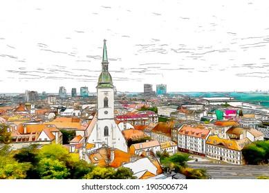 Bratislava panoramic view, city color sketch illustration.