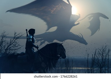 Brave epic knight riding horse on a misty sunset landscape with flying big dragons - concept art - 3D rendering