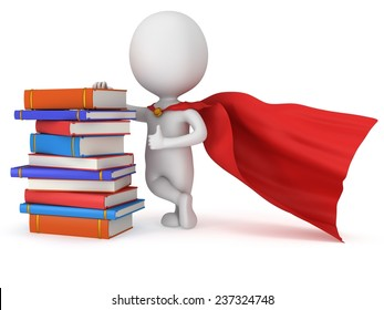 Brave superhero student with red cloak and colored books. Isolated on white 3d man. Education, university concept.