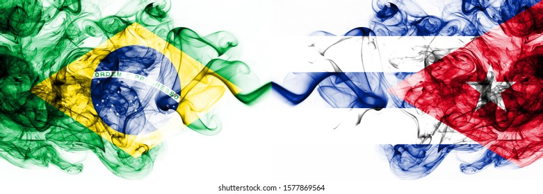 Brazil, Brazilian vs Cuba, Cuban smoky mystic flags placed side by side. Thick colored silky abstract smoke flags combination