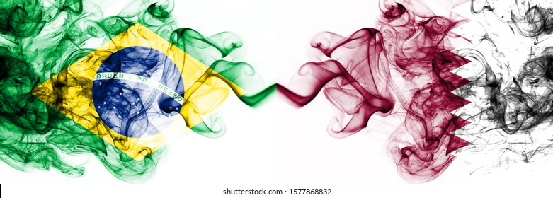 Brazil, Brazilian vs Qatar, Qatari smoky mystic flags placed side by side. Thick colored silky abstract smoke flags combination