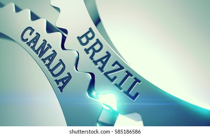 Brazil Canada on the Mechanism of Metallic Cog Gears with Lens Flare - Enterprises Concept. Metallic Cogwheels with Brazil Canada Inscription. 3D Render.