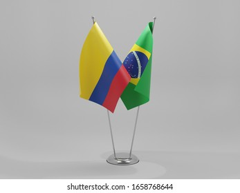 Brazil - Colombia Cooperation Flags, White Background - 3D Render